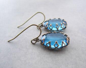 Renaissance Earrings Tudor Jewelry Victorian Ornate Frame Aqua Blue Glass Jewel Vintage Rhinestone Big Oval Light Turquoise For Her