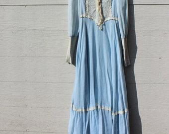 Jessica McClintock Dress Gunne Sax Art Nouveau Renaissance Long Sleeve Lace Womens Clothing Vintage 1970s 70s (E-LH)