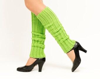 SALE--Lime Green Knit Leg Warmers, Crocheted Leggings, Handmade Women's Winter Accessory, Dance Wear, Exercise, Ballet, Jazz, 80's Style