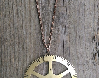 Vintage Clock Gear Necklace, brass, long pendant, link chain, steampunk, industrial, antique, salvage, repurposed