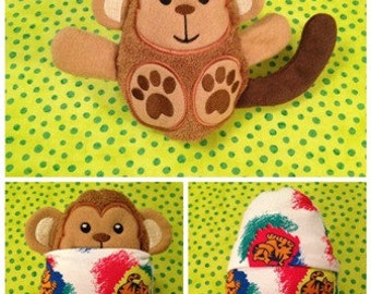 Peekaboo Monkey In the Hoop Stuffed Softie - Reversible folds into an egg, ITH, IN The Hoop, Embroidery Design, Instant download