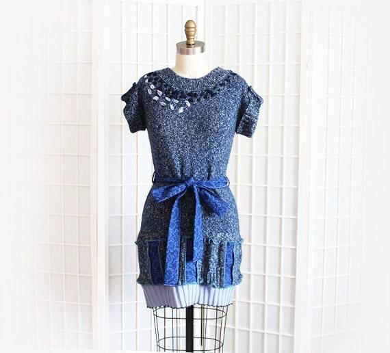 Sweater Dress In Blues Artsy Funky Bohemian Tie Waist Short