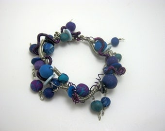 Circus Blue Wire Wrapped Polymer Clay Button Bangle