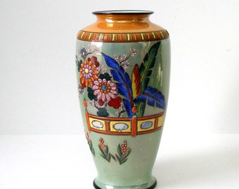 30s VASE Lusterware Moriage Japan 10in Marked Seiei Stunning Vibrant Colors Hand Painted Hollywood Design Feathers Flowers Fences