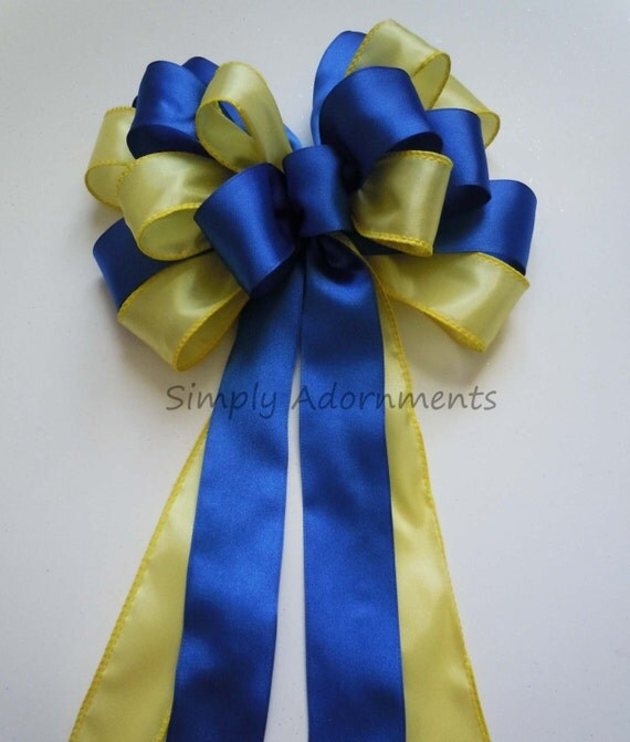 Yellow and Royal Blue Wedding Bow Shower Party Decor Bow Cobalt Blue Yellow Pew Bow Gifts Wrap Bow