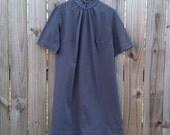 L XL Extra Large Volup Plus Size Vintage 60s Black Grey Striped Short Sleeve Modette Mod Hipster Indie Classic Dress