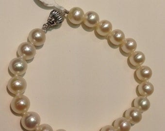 Cultured Pearl Bracelet with a 14K White Gold Clasp, Cultured Pearls, Pearl, Pearl Bracelet, June Birthstone, Wedding Gift