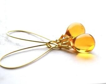 Yellow Drop Earrings, Tear Drop Earrings, Yellow Dangle Earrings, Yellow Wedding,  Best Sellers Yellow Bridesmaid Jewelry, Colorful Earrings