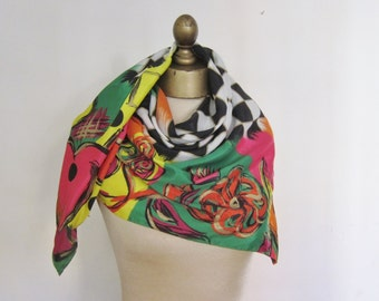 Vintage silk SCARF 1980s,  board games, square silk scarf, vintage scarves,  bright scarf, carre soie, large sqaure scarf, bright silk scarf