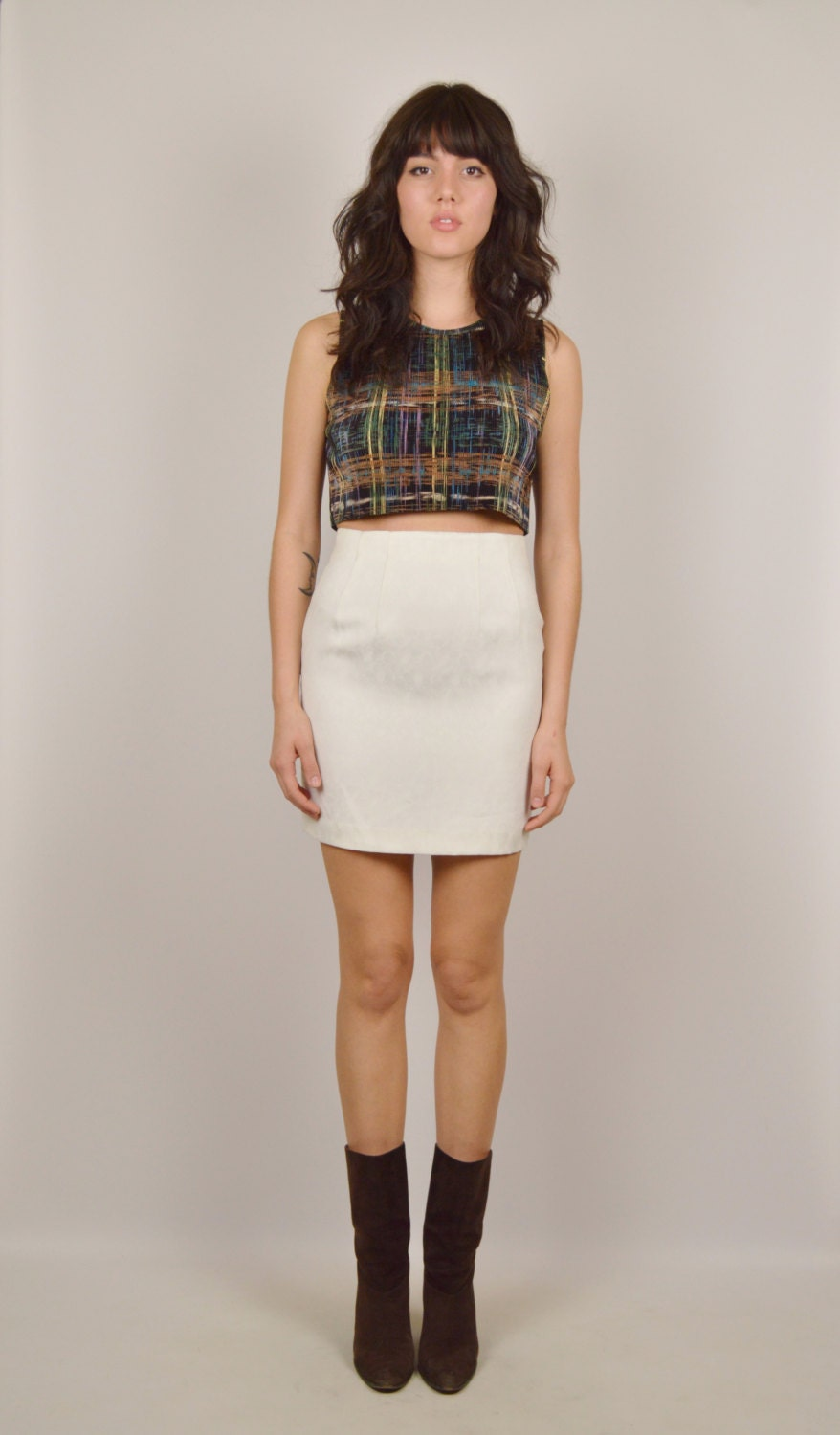 white high waisted pencil skirt by stellarvintique on etsy