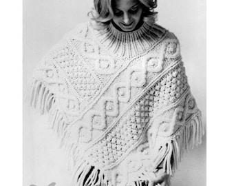 """Vintage 70's Knit Aran """"PONCHO"""" - PDF Pattern - Pat Trexler"""