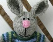 Easter Basket Toy - Plush Doll -  Baby Gift - Toy Bunny - Knit Toy - Hand Knit Stuff Bunny Rabbit Toy - Stuff Animal - Boy Bunny Lucas