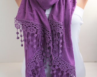 Women's Scarf  Long Scarf Oversized Lace Scarf Purple Scarf Fall Winter Scarf  Shawl Wrap Fashion Women Accessories Christmas Gift