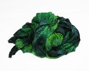 green scarf, green silk scarf - Northern Spruce -  dark green, light green silk scarf.