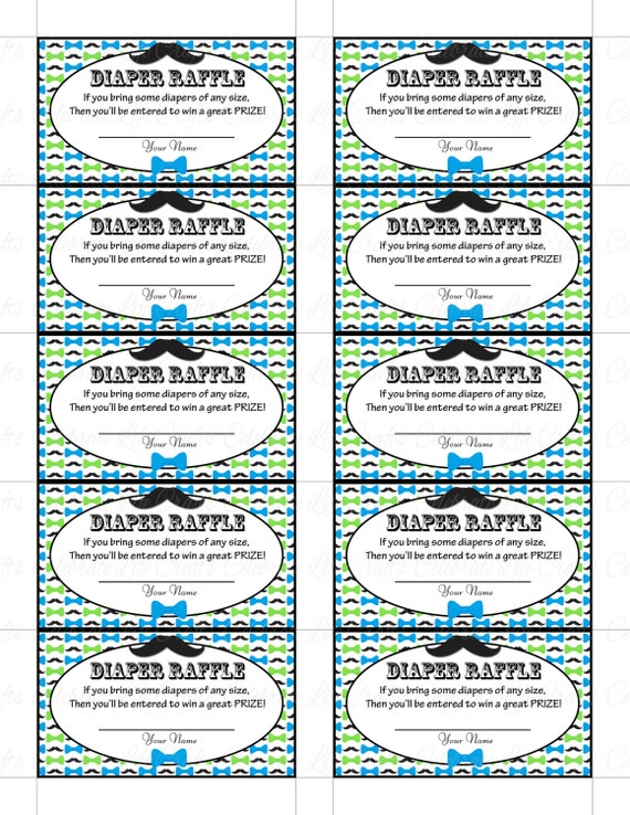 Printable diaper raffle tickets baby shower instant download printable diaper raffle tickets baby shower instant download little man blue green mustache bowtie theme baby boy moustache b063 pronofoot35fo Images