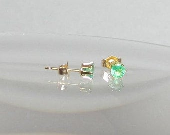 Genuine Emerald Gemstone Studs Tiny 4mm Stud Post Earrings Sterling Silver or 14Kt Gold Filled