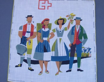 Souvenir Hanky 1964 Swiss National Exhibition vintage handkerchief from Lausanne Switzerland