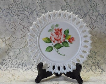 Hand Painted Plate Milk Glass Lace Edge Red Rose Vintage Decor Wall Hanging Cottage Chic