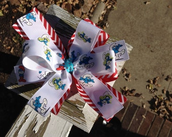 SALE-Ready to Ship Smurf Hair Bow