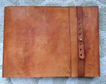 Leather Sketchbook, Refillable Sketchbook, Large, sketchbook cover - Straight Flap, Journal, Drawing Book, Leather Bound, Guest Book