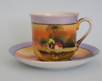 SALE Tea cup and saucer. Lustreware hand-painted scene with swan. Japan Bone china.