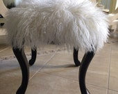 Real Natural White Mongolian Lamb Fur Up Cycled Wood Stool Bench Tibet Lamb Sheepskin Ottoman ***RESERVED FOR PAULA***