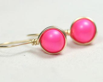 Gold Neon Pink Earrings Wire Wrapped Jewelry Handmade Sterling Hot Pink Earrings Neon Jewelry Neon Earrings Gold Earrings Gold Jewelry