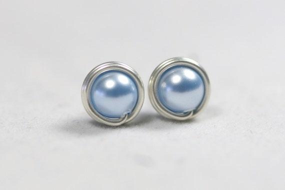 Light Blue Pearl Stud Earrings Wire Wrapped Jewelry Handmade Sterling Silver Jewelry Handmade Blue Pearl Earrings Bridal Pearl Earrings