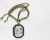 SAMPLE SALE Pendant Necklace / Statement Jewelry / Long Chain / Gifts for Her / Anniversary Present / Blue and White / Stocking Stuffer