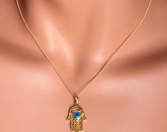 Hamsa Evil Eye Necklace 18kt Gold Filled Hand of Fatima Womens Girls Kabbalah Jewelry Custom Necklaces