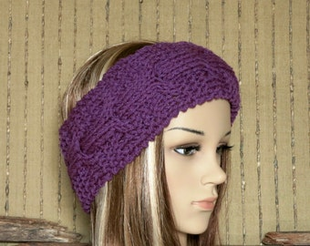 Knitted Headband, Chunky Cable Womens Ear Warmer, Wool Head Wrap, Purple Hippie Hair Wrap Turban, Wool Gift