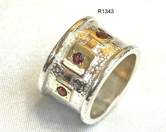 Handcrafted 9k Gold Solid 925 Sterling Silver Red Garnet Ring Size 6 7 8 9 Stone Unique, rose gold ring, garnet gold ring, silver gold band