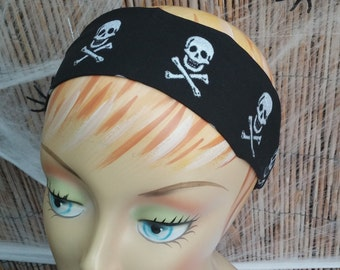 Halloween Headband Skull and Crossbones One Size Fits All 100%Cotton Fabric