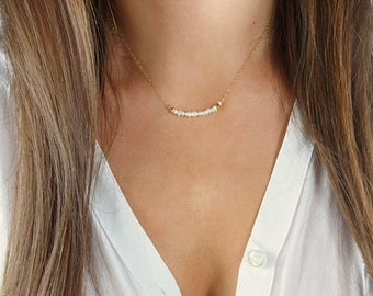 Freshwater Pearl Beaded Necklace / Pearl Bar Necklace / Simple Pearl Gold Necklace / Delicate Necklace / Layered Necklace