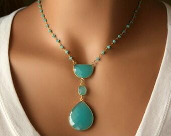 Long Aqua Chalcedony Pendant Necklace, Blue Green, Bohemian Pendant, Statement Necklace, Bohemian Style