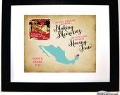 Cancun Mexico Map Cruise Vacation Memories Artwork Family Trip Girls Trip Gift for Friend Travel Memorabilia Making Memories Having Fun Art