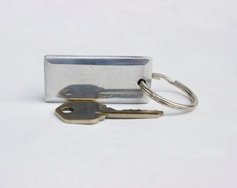 Sleek Aluminum Key Chain - Hand Shaped Brushed and Polished Metal Keychain with Split Ring