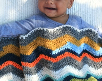 Baby blanket crocheted chevron striped custard green orange
