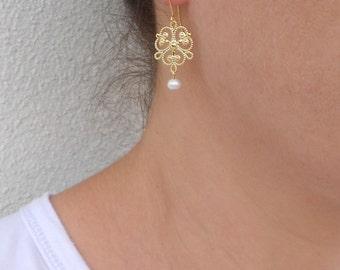 Gold filigree earrings, June birthstone earrings, Gold pearl earrings