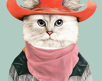 RODEO CAT Art Print, Kids Room Decor, Cowboy Cat, Childrens Art, Cats In Clothes, Kids Room Poster, Funny Cat, Cat Illustration