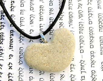 Heart, Heart pendant, heart beach stone, Heart beach stone necklace