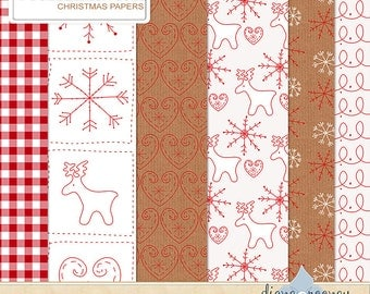 Christmas Digital Paper, Digital Christmas Paper, Instant Download Christmas Papers, Scandinavian Christmas Papers, Digital Xmas Backgrounds
