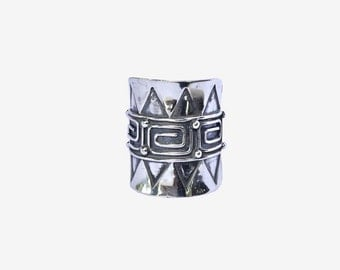 Aztec Sterling Silver Ring, Tribal Hand Cut Solid Sterling Boho Style Ring, Chevron Gypsy Statement Ring