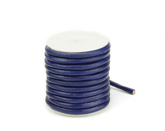 5mm Round Leather Cord, Dark Blue Genuine Leather Cord For Bracelet Findings, Pkg of 10 ft., D0F8.DB14.L10F
