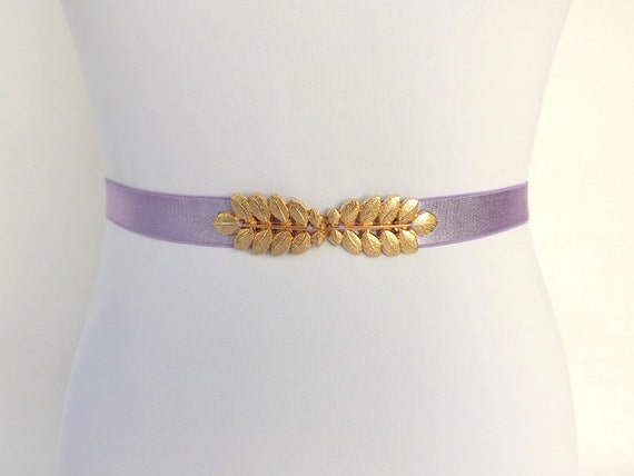 Light Purple Elastic Waist Belt. Gold leaf buckle. Lavander Bridal/ Bridesmaid leaf belt. Stretch dress belt.