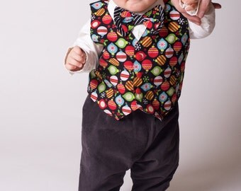 Boys Reversible Christmas Vest and Bowtie Set Made to Order Size 6M to 10 years