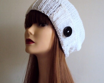 SALE! Slouchy Beanie with Button Hand Knit White Hat Chunky Women Teen to Adult Fashion