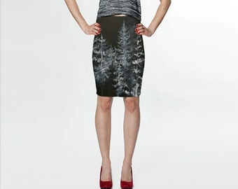 Black Forest Curve Enhancing Pencil Skirt, Eco-friendly and printed from original art
