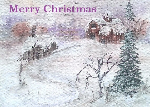 Christmas Cards     From My Painting Winter Homestead