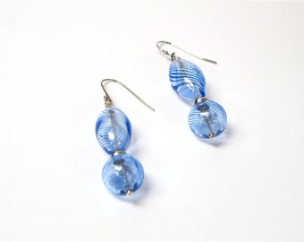 Hand blown glass earrings, Blown glass dangle earrings,  Blue glass earrings,  Blue glass drop earrings,1487-BG